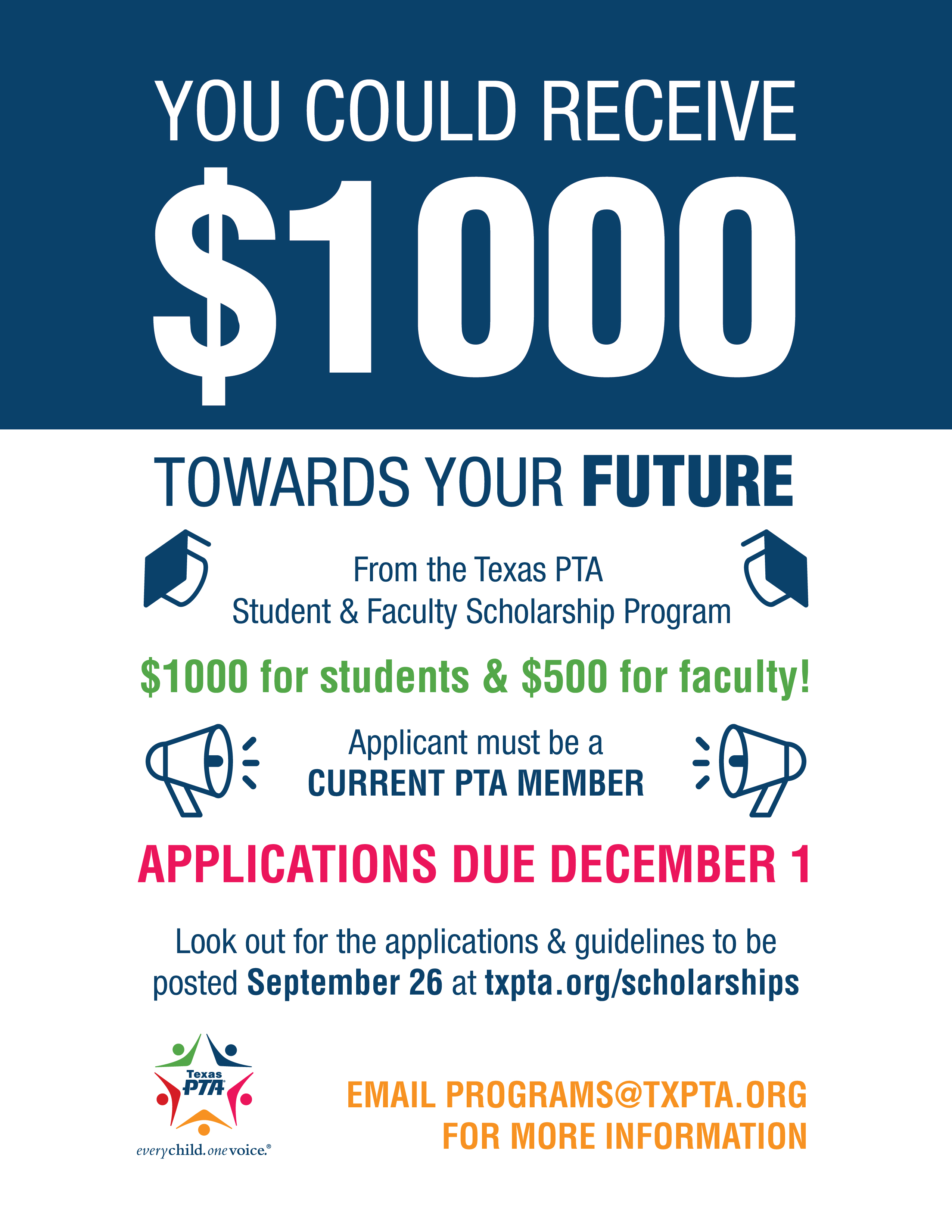 faculty student scholarships texas pta every child one voice
